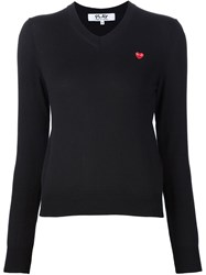 Comme Des Gara Ons Play Embroidered Heart V Neck Sweater Black
