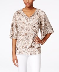 Styleandco. Style And Co. Sublimated Printed Peasant Top Only At Macy's Scarf Twin