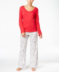 Charter Club Knit Solid Top And Printed Pants Pajama Set Only At Macy's Red Reindeer