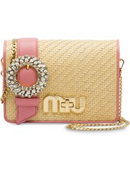 Miu Miu Straw And Madras Leather Bag Nude And Neutrals