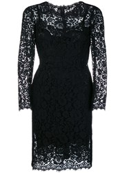 Dolce And Gabbana Fitted Lace Dress Black
