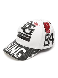 Dolce And Gabbana King Printed Baseball Cap White