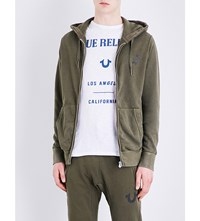 True Religion Logo Print Cotton Jersey Hoody Military Green