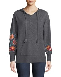 Johnny Was Amira Cashmere Embroidered Sleeve Hoodie Gray