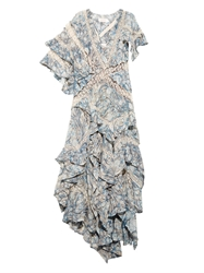 Zimmermann Tarot Marble Print Ruffled Silk Dress