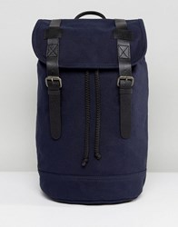Asos Backpack In Organic Cotton With Real Leather Trims Navy