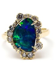 Kimberly Mcdonald 18K Yellow Gold Boulder Opal And Diamond Ring Blue
