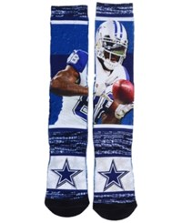 For Bare Feet Men's Dez Bryant Dallas Cowboys Rush Player Jersey Crew Socks Blue