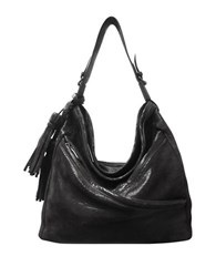 Sondra Roberts Lizard Textured Leather Mini Hobo Bag Black