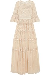 Needle And Thread Roses Embellished Satin Trimmed Tulle Gown Beige