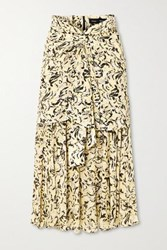 Proenza Schouler Layered Printed Chiffon Midi Skirt Yellow