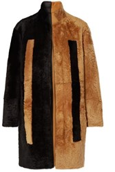 Akris Reversible Two Tone Shearling Coat Black