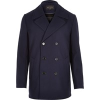 River Island Mens Navy Smart Textured Double Breasted Pea Coat