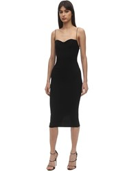 Alex Perry Lee Envers Satin Midi Dress Black