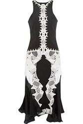 Jonathan Simkhai Guipure Lace Appliqued Crepe And Silk Chiffon Dress Black