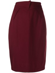 Thierry Mugler Pre Owned 1980'S Flap Detail Pencil Skirt Red