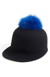 Women's Helene Berman Genuine Fox Fur Pompom And Wool Cap Black Black Cobalt