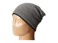 Plush Fleece Lined Herringbone Beanie Black White Beanies
