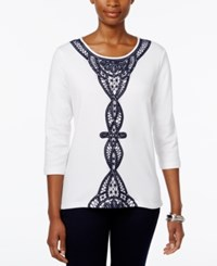 Alfred Dunner Lace Trim Three Quarter Sleeve Top White