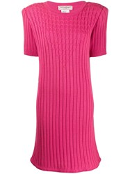 Yves Saint Laurent Vintage 1980'S Cable Knit Ribbed Dress Pink