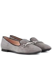 Tod's Double T Suede Loafers Grey