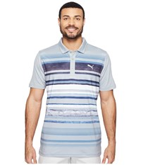 Puma Washed Stripe Polo Pwrcool Quarry Men's Short Sleeve Knit Brown