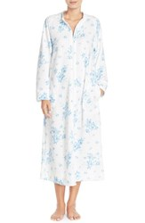 Women's Carole Hochman Designs Zip Front Quilted Robe Cascading Floral Ivory Blue
