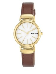 Anne Klein Goldtone Stainless Steel And Leather Strap Watch Brown