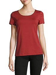 Lafayette 148 New York Solid Scoopneck Cotton Blend Tee Red Rock