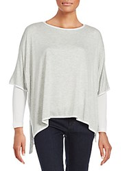 Saks Fifth Avenue Heathered Boatneck Top Silver