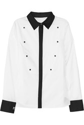 Karl Lagerfeld Bibi Two Tone Cotton Tuxedo Shirt White