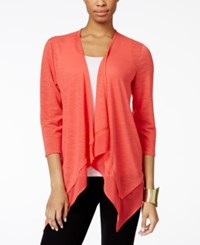 Ny Collection Draped Chiffon Trim Cardigan