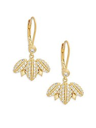 Freida Rothman Geometric Edge Cubic Zirconia And 14K Goldplated Pave Winged Leverback Earrings