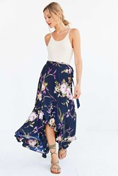 Bog Collective Tulip Wrap Maxi Skirt Black Multi