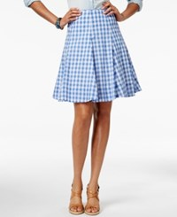 American Living Plaid A Line Skirt Only At Macy's Blue White