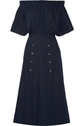 Saloni Dakota Off The Shoulder Stretch Cotton Poplin Midi Dress Navy
