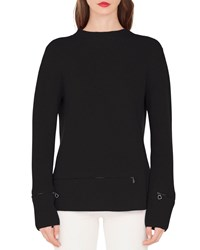 Akris Crewneck Ribbed Cashmere Pullover Sweater Black