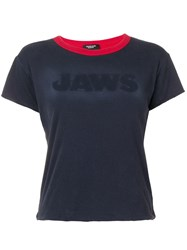 Calvin Klein 205W39nyc Jaws Reversible Cropped T Shirt Blue