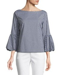 Laundry By Shelli Segal Balloon Cuff Gingham Blouse Black White