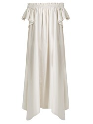Loup Charmant Hydra Off The Shoulder Silk Dress White