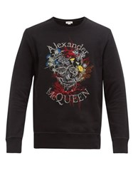 Alexander Mcqueen Floral Skull Embroidered Cotton Sweatshirt Black Multi