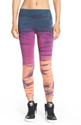 Women's Hard Tail 'Cage' Stretch Cotton Leggings Rainbow Horizon Berry Coral