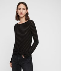 Allsaints Carme Shimmer Stripe T Shirt Copper Black