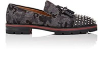 Christian Louboutin Men's Rossini Flat Flannel Loafers Grey Black Grey Black