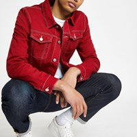 River Island Red Contrast Stitch Denim Jacket