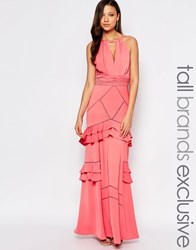 Jarlo Tall Layered Ruffle Maxi Dress Pink