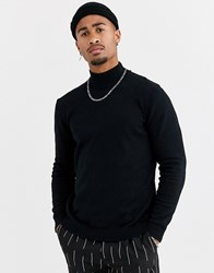 Only And Sons Knitted Jumper With High Neck In Black