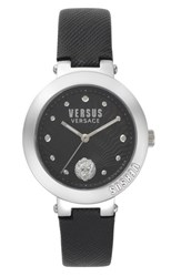 Versus By Versace Lantau Island Leather Strap Watch 36Mm Black Silver