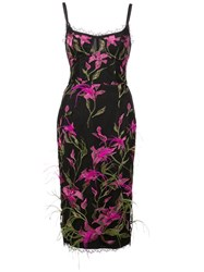 Marchesa Notte Embroidered Floral Dress Black