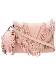 Elena Ghisellini Fringe Crossbody Bag Pink And Purple